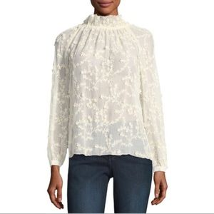 Tops - Rebecca Taylor Ellie Embroidered Lace Silk Top